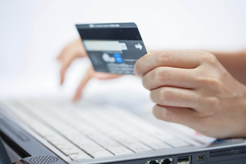Using a credit card. Online shopping.